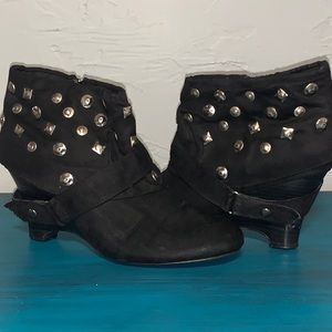 Studded Black Wedge Bootie / Ankle Boots
